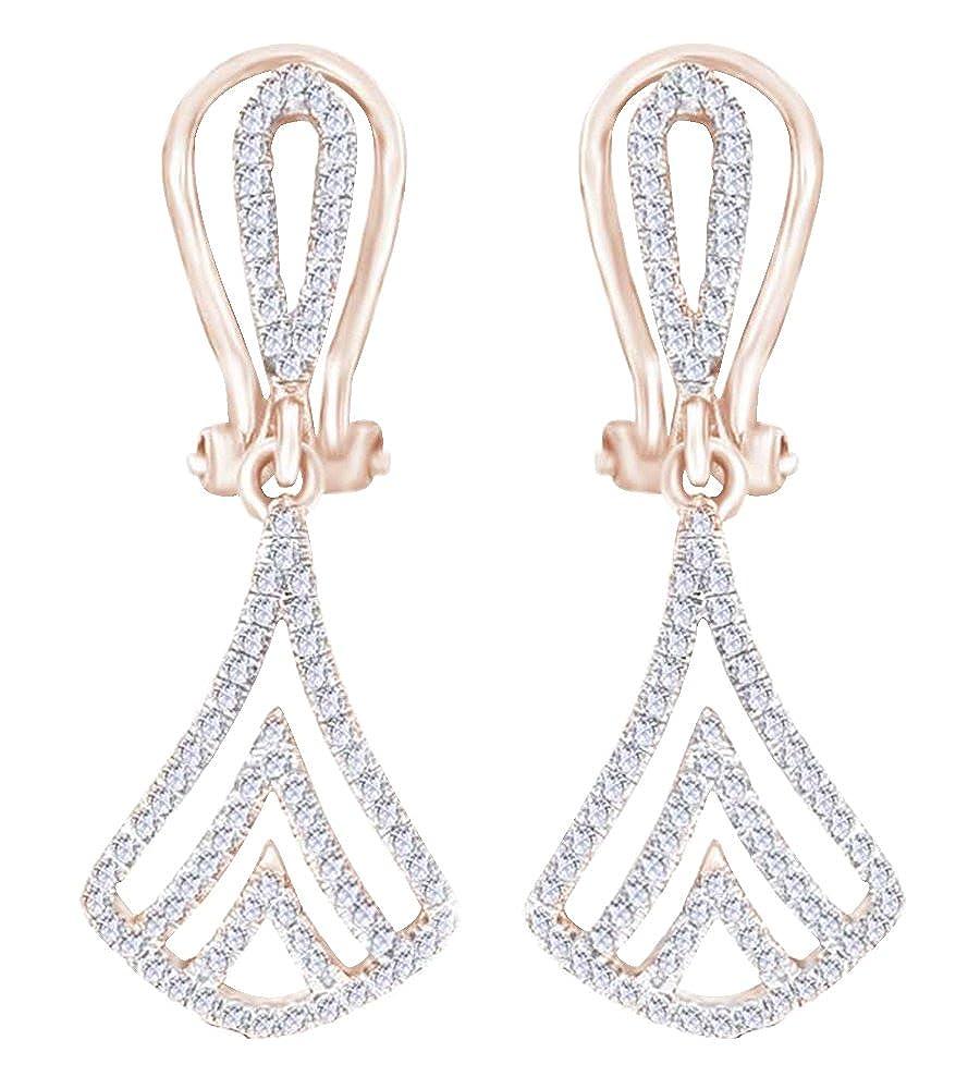 Krappenfassung Rundschliff Weißszlig; natürlicher Diamant (0,4 Karat) Ohrringe in Tropfenform 14 ct 585 Massiv Weißszlig; Gold 14 Karat RotGold