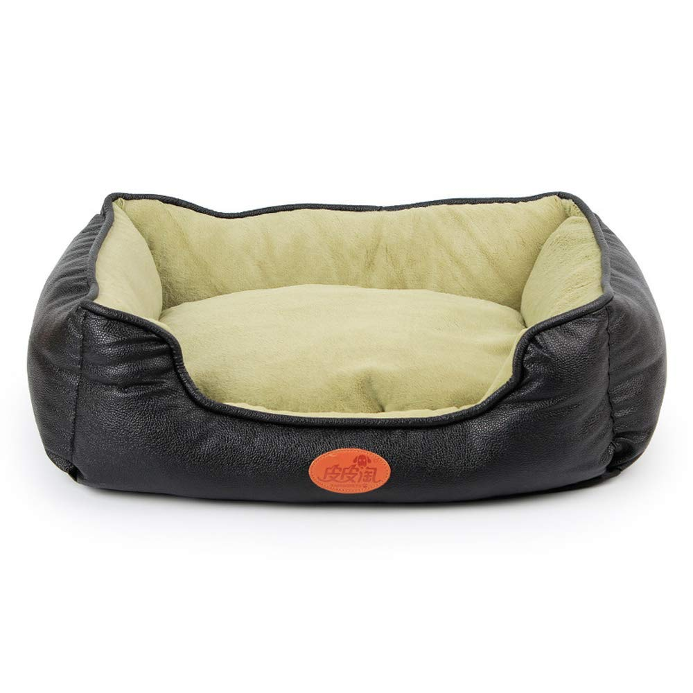 Black L Black L Pet Dog Bed Cat Basket PU Leather Dog Cushion for Small Medium Large Dogs Cats