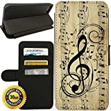 Flip Wallet Case for iPhone 8 PLUS (Musical Notes) with Adjustable Stand and 3 Card Holders   Shock Protection   Lightweight   Includes Free Stylus Pen by Innosub