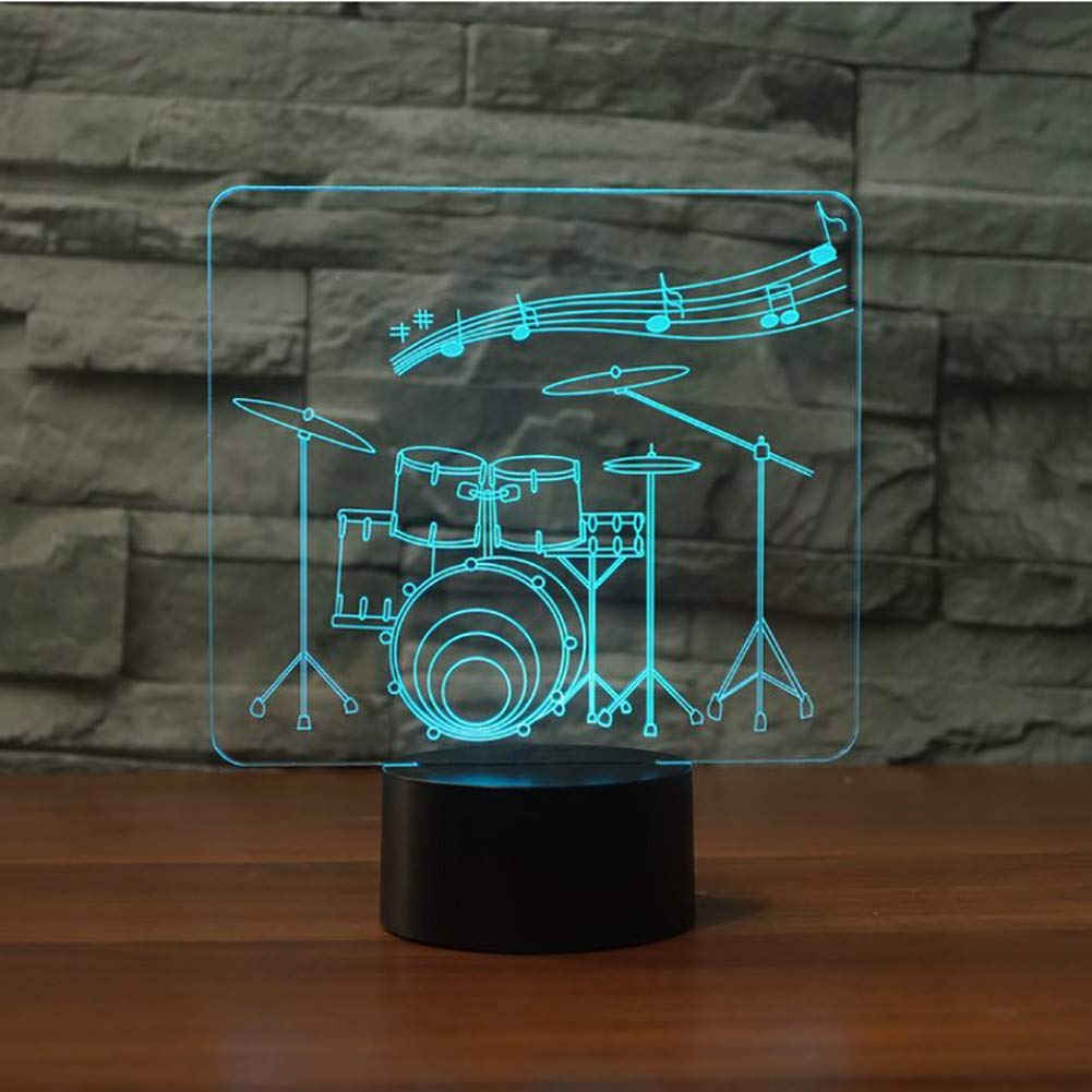 Remote and touch KKXXYD Creative Drum Set 3D Night Light 7 color Change Remote Switch Led 3D Desk Table Lamp Musical Instruments Atmosphere Lamp