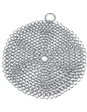 Aukson Stainless Steel Chainmail Scrubber Rust Proof Scraper Cleaner for Cast Iron Pan Pot Cookware