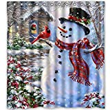 "Moca 66""x72"" Inches Winter Holiday Merry Christmas Happy Snowman and Cardinals Shower Curtain New Waterproof Polyester Fabric Bath Curtain ( Shower Rings Included )"