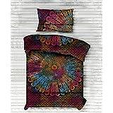 Beautiful Tie Dye Mandala Duvet Cover Cotton Twin Bedding Set Comforter, Blanket,Quilt ,Doona Cover With Pillow Case Indian Art Bohemian Bedspread Mandala Bedding Set