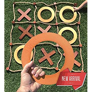 Splinter Woodworking Co. Giant Wooden Tic Tac Toe Game (All Weather) | 3ft x 3ft | Big Wood X & O Pieces with Rope Game Board | Large Outdoor Tic Tac Toss Across Yard Game for the Whole Family