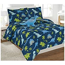 6 Piece Comforter Set Kids Bed in a Bag- Twin (Dinosaur Sky Blue)