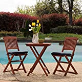 Sunward Patio Bistro Set / Folding 3 Piece Bistro Table Set With Plush Cushions and Dark Stain Finish