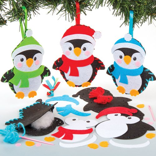 penguin decoration sewing kits for children to make decorate and personalise creative xmas craft acitivity