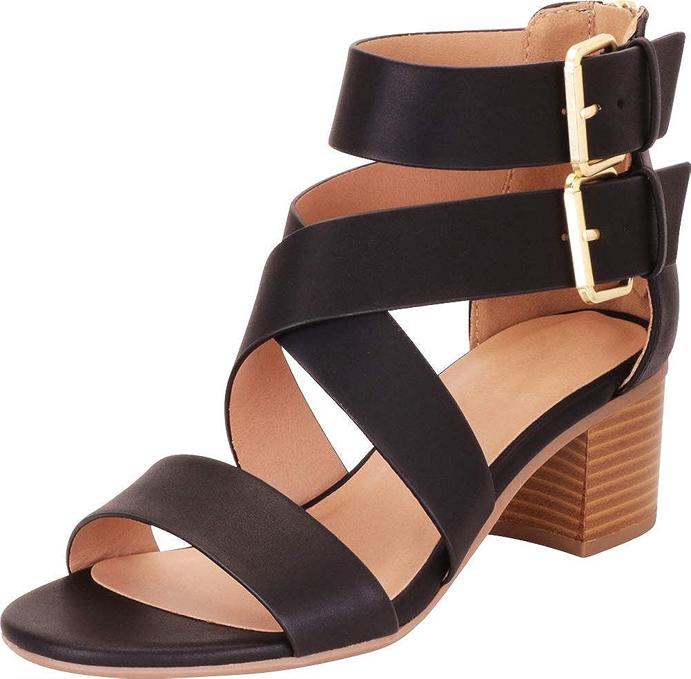 Black Pu Cambridge Select Women's Crisscross Strappy Chunky Block Mid Heel Sandal
