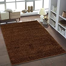 Ladole Shaggy Soft Solid Modern Contemporary Area Rug, Living Area Decor, Dining Room, Bedroom Area Rug (5 x 8, Brown)