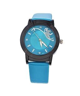 Funique Women Rhinestone Dial Quartz Analog Wrist Watch Dark Blue PU Leather Strap 24cm