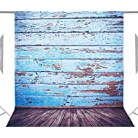 Neewer 5x7ft/150x210cm 100% Polyester Wooden Floor Backdrop Background for Photography Studio Video Shooting (Backdrop Only)-Blue