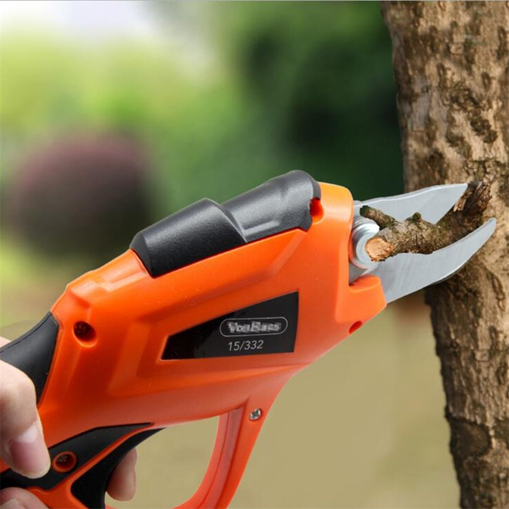 HomeYoo Rechargeable Electric Pruning Shear, 3.6V Li-ion Battery Cordless Secateur Branch Fruit Tree BranchesCutter for Home Garden, 3.6V 1.5AH 1.2S / time 15-20min (Orange)