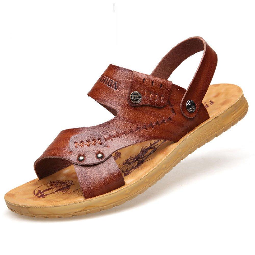 Verano Cuero Suave Sandalias Hombres Transpirables Zapatillas Zapatos De Playa para Hombres 41 EU|Brown