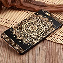 LINFA BLACK iPhone 5SSE 6 6S 7 7P Cover Wooden Cases (iPhone 7, full flower)