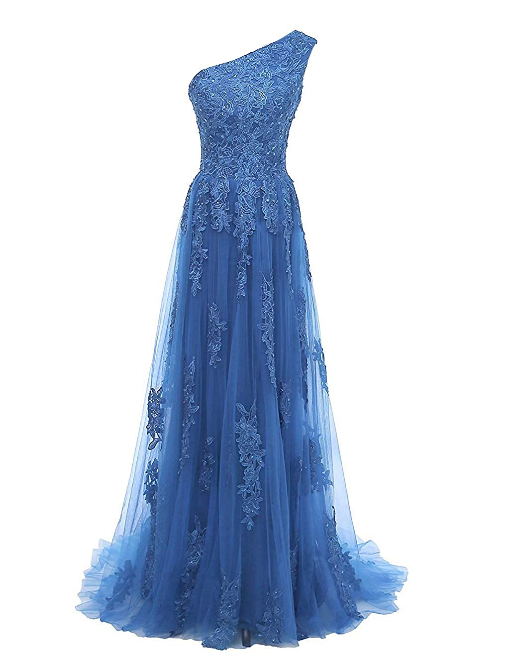 bluee Uther One Shoulder Evening Party Gowns Lace Appliques Women's Formal Long Prom Dresses