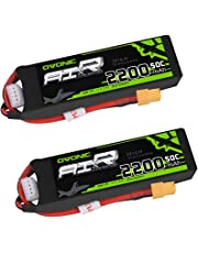 OVONIC 2 Packs 3S 11.1V 2200mAh 50C Lipo Battery Pack with XT60 for RC Evader BX Car RC Truck RC Truggy RC Airplane UAV Drone