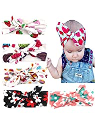 American Trends Baby Girl Newest Turban Headband Head Wrap Knotted Hair Band(E-6 Pairs-Mix Color)