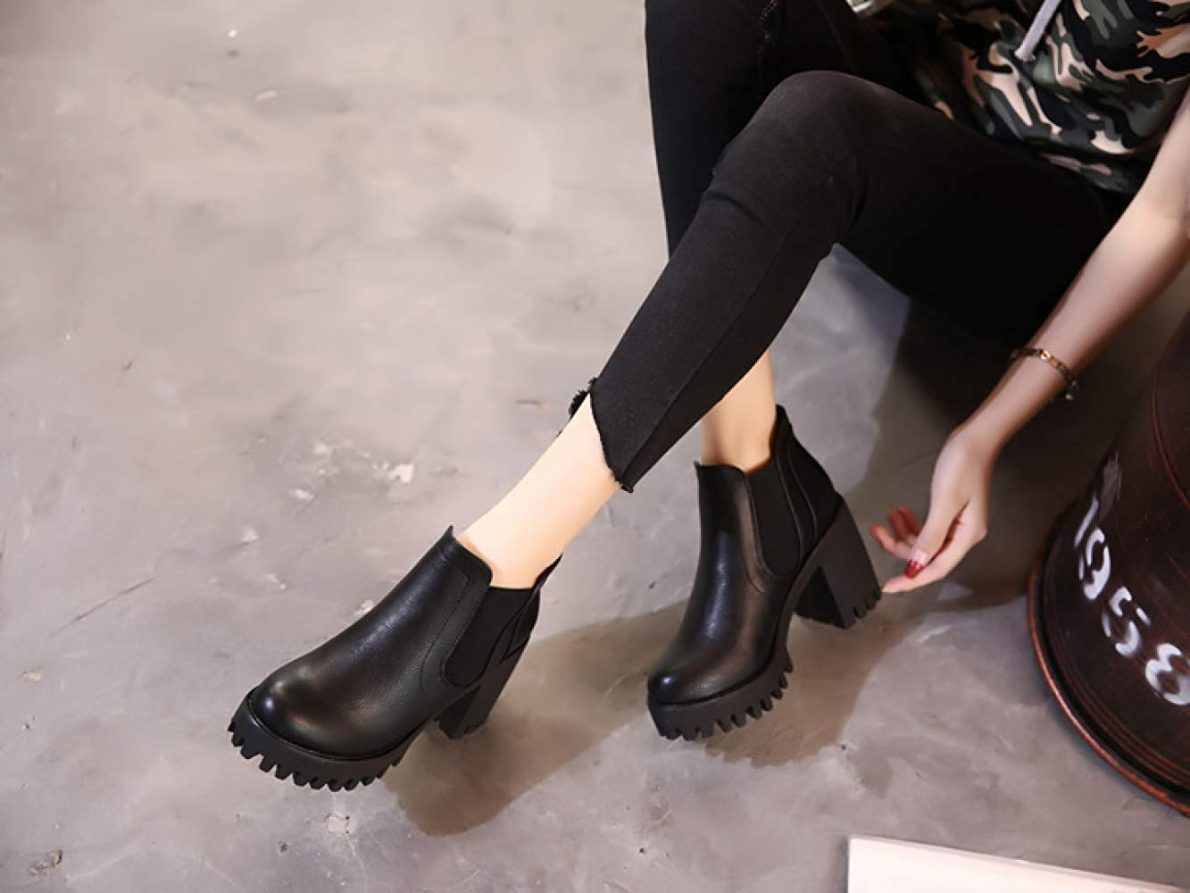 Oudan Oudan Oudan Weibliche Herbst Und Winter Leder High Heels Stiefeletten Baumwolle Schuhe (Farbe   1 Größe   34EU) 736b6f