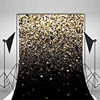 Sparkle Photography Backgrounds 8x10Feet Black Photo Backdrops Golden Backgrounds Computer Printed Vinyl Photography Background Studio Props D0037