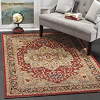 Safavieh Mahal Collection MAH625B Traditional Oriental Natural and Navy Area Rug (9 x 12)