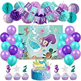 Mermaid Party Decorations Supplies Favor Games Kit Mermaid Party Games Cake Toppers Balloons for Mermaid Birthday Baby Shower Under The Sea Party Supplies