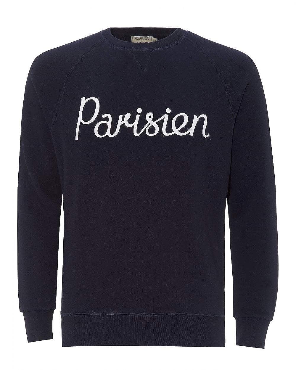 Navy L MAISON KITSUNÉ Mens Parisien Sweatshirt bluee