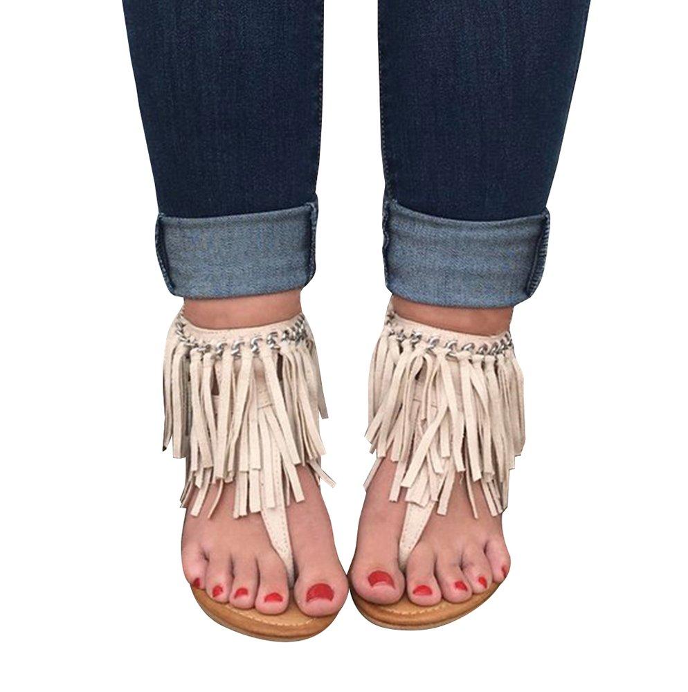 Syktkmx Womens T Strap Fringe Wedge Thong Chain Ankle Wrap Summer Cork Flip Flop Sandals B07D6N6396 5 B(M) US Beige