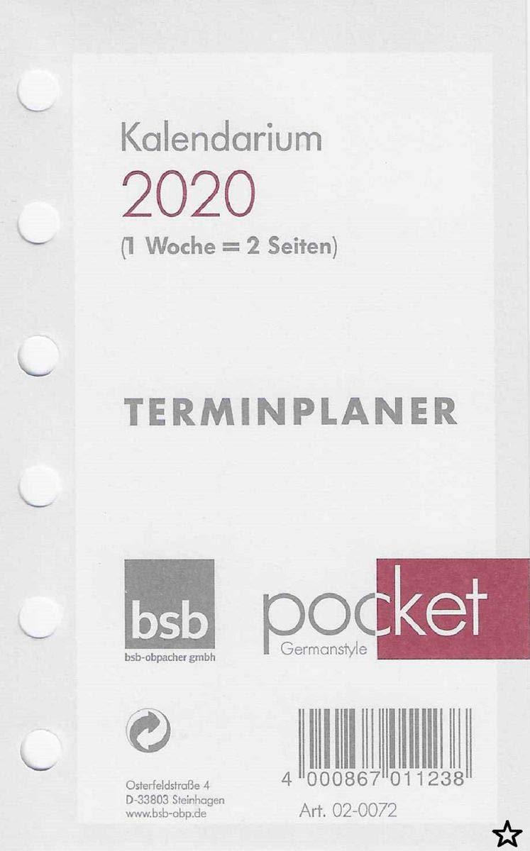 Kalendereinlagen 2020  Kalendarium bsb kompakt  17 x 9,5 cm mit 6 Löchern