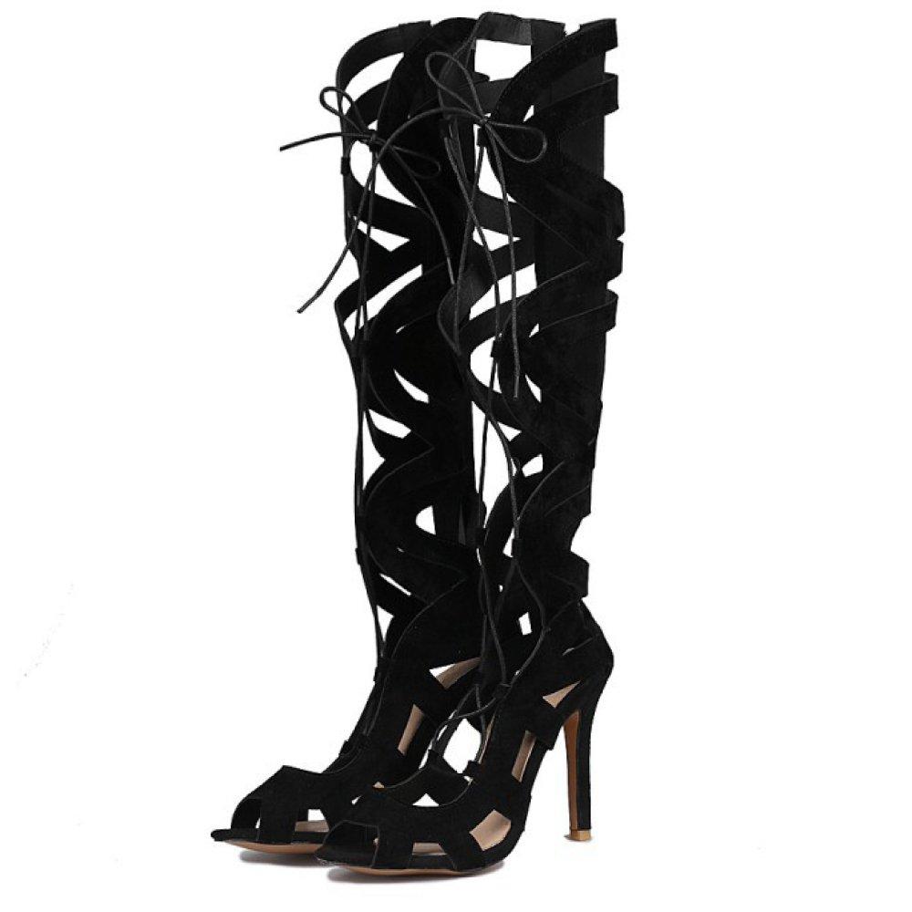 Zapatos Romanos Para Mujer Botas De Mujer Stiletto De Tacón Alto Con Cordones Peep Toe Sandalias De Tiras Zapatos Bombas Tamaño De La Fiesta EU43=265 Black