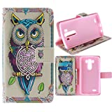 G3 Case, Jenny Shop Fashion Style PU Leather Stand Feather with 2 Built-in Card Slots, Money Pocket Flip Cover Magnetic Closure Cover Case ONLY for LG G3 5.5 Inch Screen Smartphone (Owl)