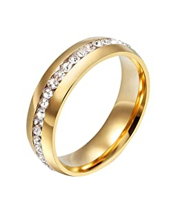yibenwanligod Size 6-13 Unisex Rhinestone Titanium Steel Engagement Wedding Band Finger Ring - Gold 12