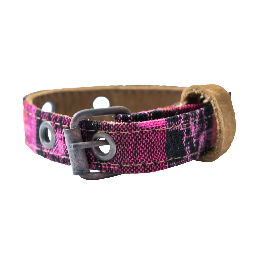 Mayan Pet Collar for Cats & Small Size Dogs (8.25-12.25 inches) Handmade by Hide & Drink    Tropical Fuchsia