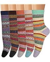 Ofeily Winter Socks 5 Pairs Women Vintage Wool Socks Thick Knit Warm Comfort Socks (ZYX-00105F)
