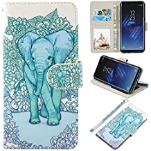 Galaxy S8 Case, UrSpeedtekLive Galaxy S8 Wallet Case Folio Flip Premium PU Leather Case Cover with Card Holder Slot Pockets, Wrist Strap, Magnetic Closure For Samsung Galaxy S8 (2017), Elephant