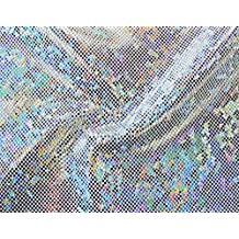 Shattered Glass Hologram Stretch Fabric by the yard - Silver/White