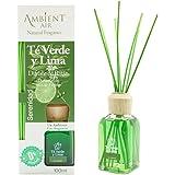 Ambientair Aromatizante Té Verde y Lima, difusor de Varillas sin Alcohol, ambientador Mikado con Varillas de ratán, aromatiza