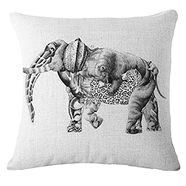 Butishop Linen Cute Elephant Cotton Decorative Throw Pillow Case Cushion Cover,17  x 17  32910#
