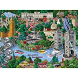 Bits and Pieces - 300 Piece Jigsaw Puzzle for Adults - London City View - 300 pc England Jigsaw by Artist Joseph Burgess