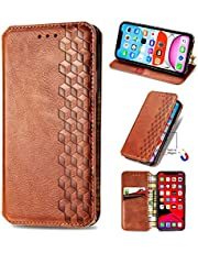 Miagon iPhone XR Fashion Wallet Case,Retro PU Leather Book Flip Cover Protective Shockproof Bumper with Magnetic Card Slots Stand Function,Brown