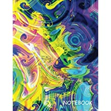 Notebook: Blue Yellow Purple Swirl, Blank Unlined / Non-ruled Notebook - (Letter size 8.5 x 11 Inches) 100 Pages - 040