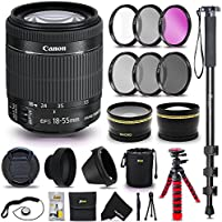 "Canon EF-S 18-55mm f/3.5-5.6 IS II SLR Autofocus Lens + 58mm Wide Angle / Telephoto Lens Lens Filter Accessories Bundle Kit (UV FLD CPL ND) + 72"" Monopod + 12"" Flexible Tripod + Lens Hood + More"