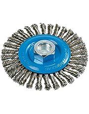 "Walter 13K414 Stringer Bead Wire Wheel Brush, Threaded Hole, Stainless Steel 304, 4"" Diameter, 0.020"" Wire Diameter, 5/8""-11 Arbor, 4"" Length, 20000 Maximum RPM"