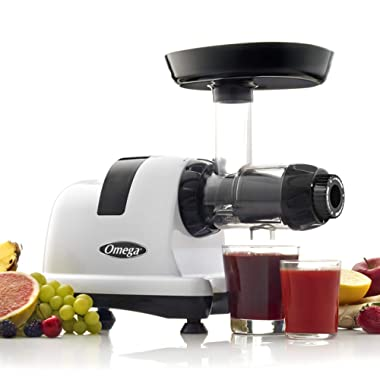 Omega J8006HDS Nutrition Center Quiet Dual-Stage Slow Speed Masticating Juicer Makes Fruit and Vegetable Juice at 80 Revolutions per Minute High Juice Yield Adjustable Dial, 200-Watt, Silver
