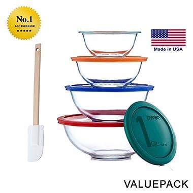 Pyrex Smart Essentials 8-Piece Mixing Bowl Set With Free Bakers Secret Spatula (Bundle) by World Kitchen