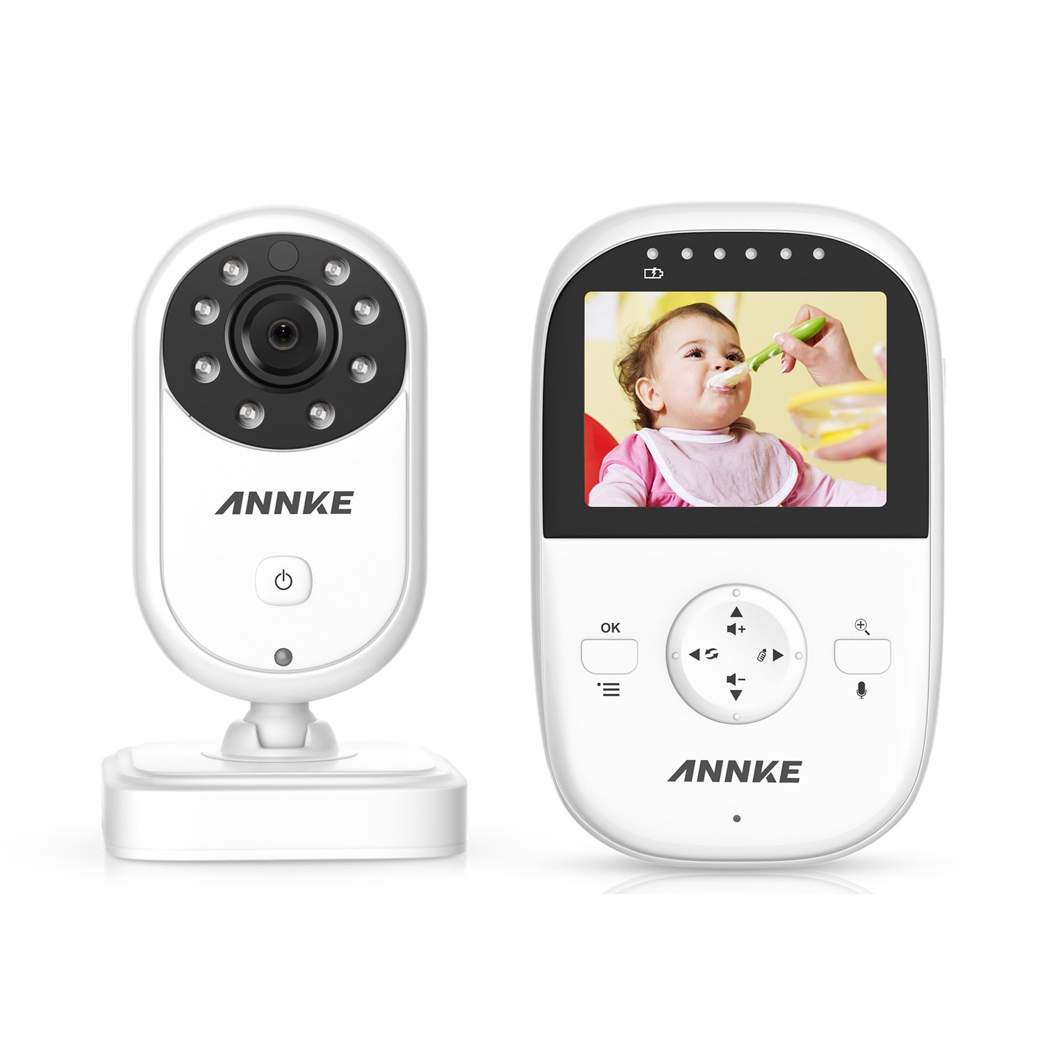 "Premium Wireless Baby Monitor By ANNKE - Built-In Camera & Clear Two-Way Audio - Night Vision Mode - 2.4GHz Encrypted WiFi Long Transmission Range - 2.4"" LCD Screen Controller Unit"