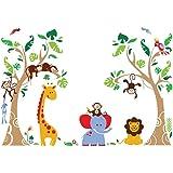 decalmile Animal Tree Wall Stickers Monkey Giraffe Elephant Kids Wall Decals Baby Nursery Kids Room Wall Decor (Finished Size