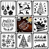 Christmas Drawing Painting Stencils Scale Template Sets, 8 Pcs Different Christmas Style Stencils for Painting on Wood, Craft Cards Making, Human Body Painting, Home Decor