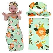 Newborn Baby Swaddle Blanket and Headband Value Set,Receiving Blankets(Flower Green)