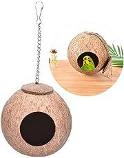 Natürliches Kokosnuss-Vogelnest, Nest für Papagei, Sittiche, Nymphensittiche, Kanarienvogel, Finken, Tauben, für den Käfig für Hamster, Ratten, Rennmäuse, Mäuse, Nahrungszufuhr-Spielzeug