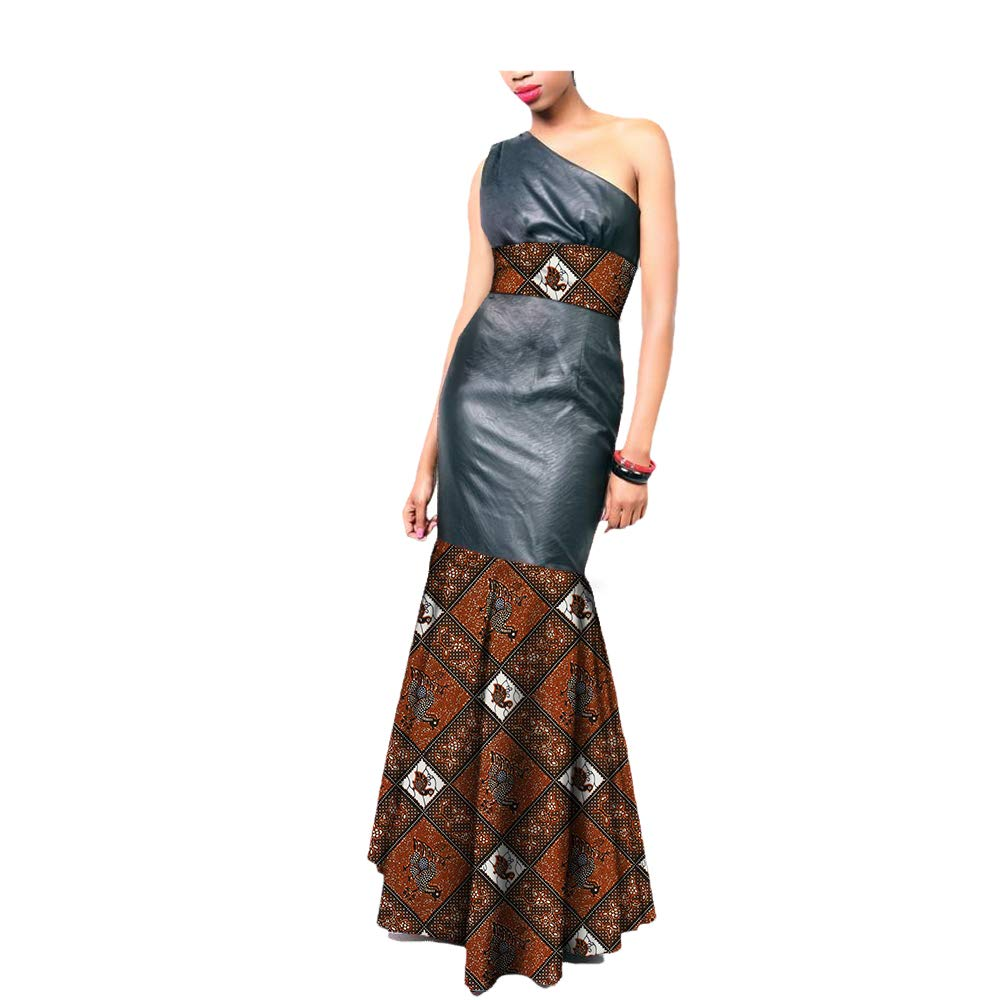 38819j African Ankara Print OneShoulder Sleeveless AnkleLength Women Sexy Trumpet Dress 100% Batik Cotton Made AA7225136
